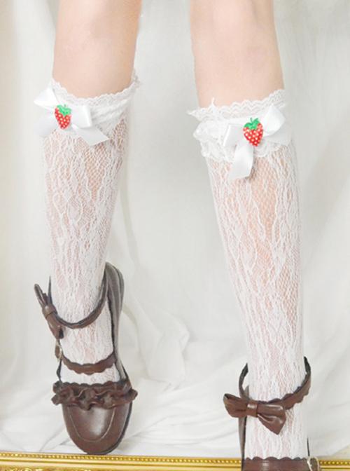 Bowknot Strawberry Cute Lace Sweet Lolita Long Socks