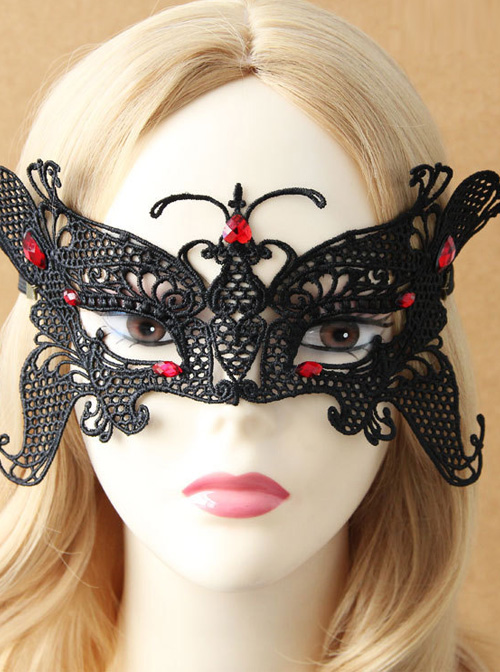 Black Lace Butterfly Shape Mask Dance Party Gothic Lolita Mask