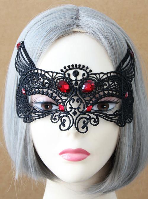Black Lace Sexy Fox Princess Gothic Lolita Mask