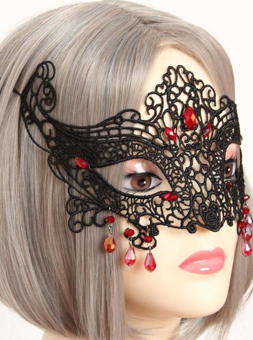 Half Face Fox Masks Halloween Black Lace Gothic Lolita Mask