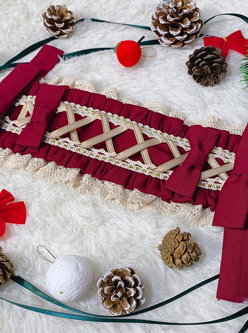 Popcorn Series Bowknot Christmas Red Sweet Lolita Hair Band