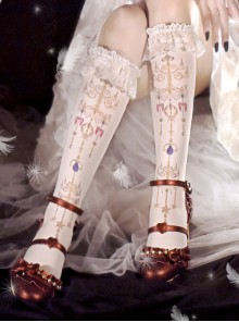 Retro Jewel Chandelier Printing Classic Lolita Middle Stockings