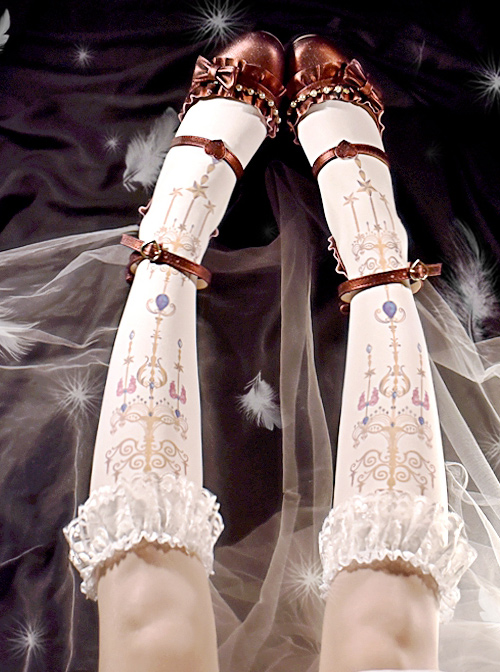 Retro Jewel Chandelier Printing Classic Lolita Middle Stockings
