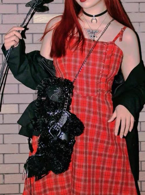 Hell Bear Series Black Plush Gothic Lolita Bag