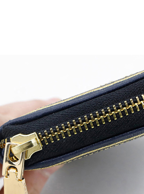 Golden Thread Embroidery Pearlescent PU Gothic Lolita Wallet