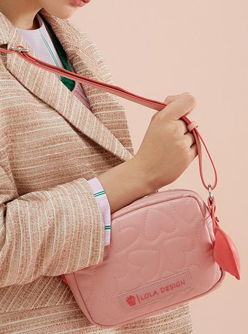 Cute Heart Pattern Soft PU Leather Square Shaped Sweet Lolita Shoulder Bag