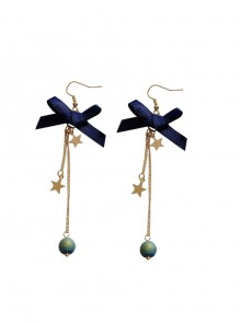 Galactic Starry Sky Long Style Tassel Stars Blue Bowknot Classic Lolita Earrings