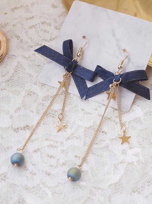 Galactic Starry Sky Long Style Tassel Stars Blue Bowknot Classic Lolita Earrings