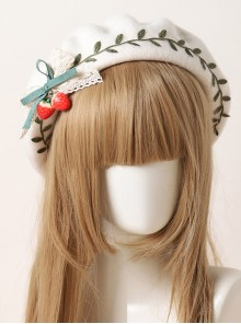 Autumn Winter Strawberry Green Leaves Series Beret Sweet Lolita Cute Hat