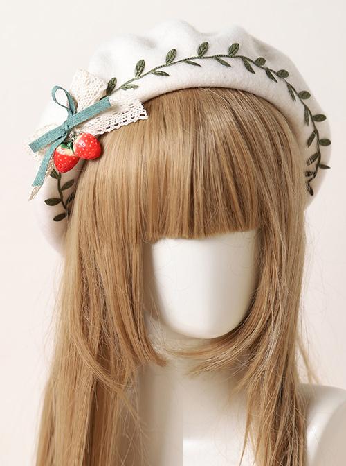 Autumn Winter Strawberry Green Leaves Series Beret Sweet Lolita Cute Hat