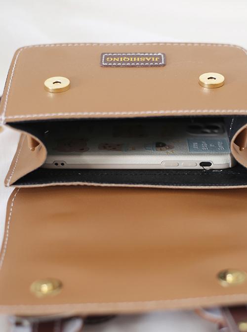 Little Bear Retro Small Square Bag School Lolita Handbag Shoulder Messenger Bag