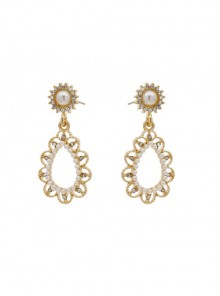 Retro Baroque Pearl Hollow Out Classic Lolita Earrings