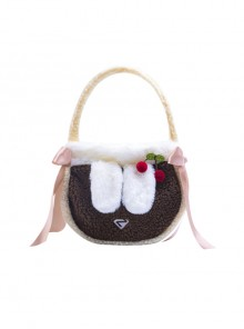 Cute Cashmere Portable Bag Sweet Lolita Ribbon Decoration Shoulder Bag