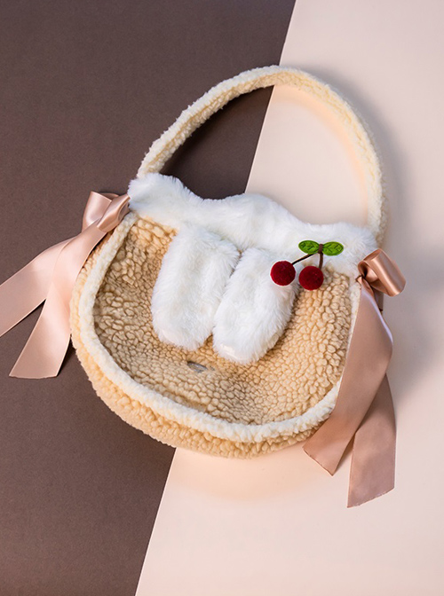 Cute Cashmere Portable Bag Sweet Lolita Ribbon Decoration Shoulder Bag