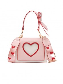 Cute Heart-Shaped Printing Shoulder Straps Sweet Lolita Shoulder Bag