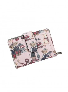 Teddy Bear Printing Sweet Lolita Short Style Zipper Wallet