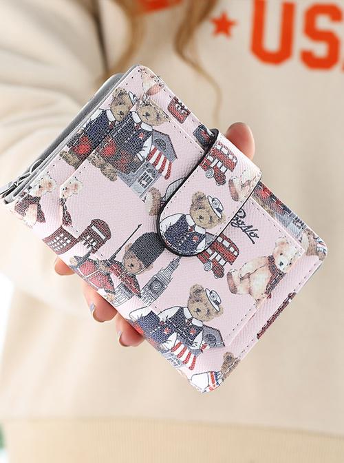 Teddy Bear Printing Sweet Lolita Short Style Zipper Wallet