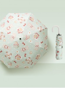 Cute Printing Sweet Lolita Curved Handle Three Fold Umbrella