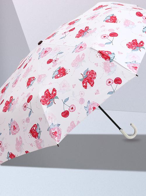 Cute Printing Sweet Lolita Curved Handle Three Fold Umbrella