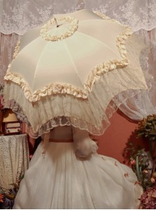 Rose Pavilion Series Lace Elegant Classic Lolita Long Umbrella