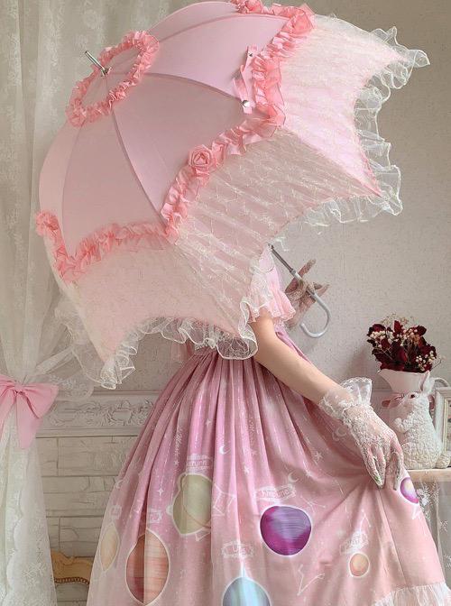 Rose Pavilion Series Lace Elegant Classic Lolita Long Umbrella