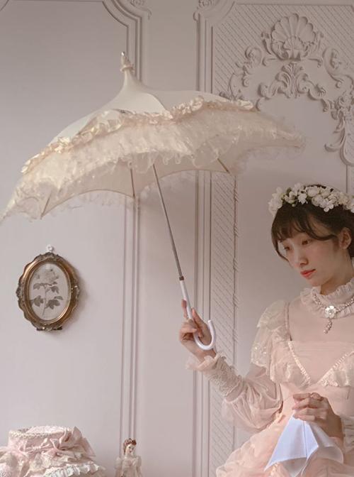 Rose Pavilion Series Pagoda Shape White Classic Lolita Lace Long Umbrella