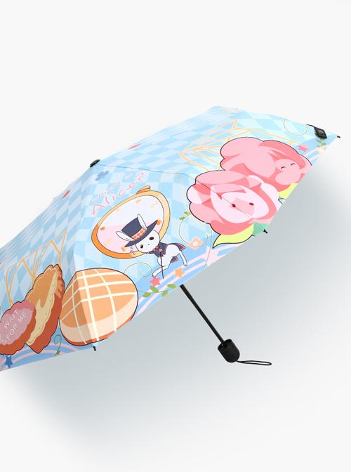 Alice Theme Printing Sweet Lolita Blue Folding Umbrella