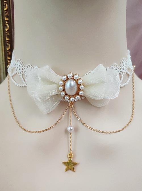 White Lace Bowknot Pearl Star Pendant Classic Lolita Necklace