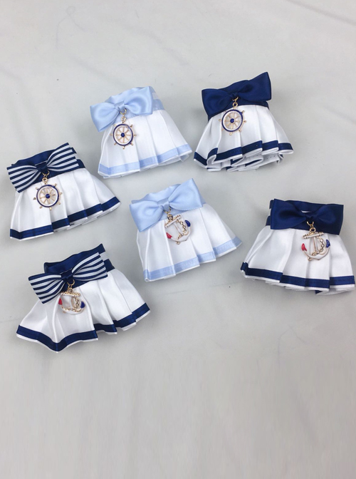 Bowknot School Style Navy Style Pleated Sweet Lolita Hand Sleeves