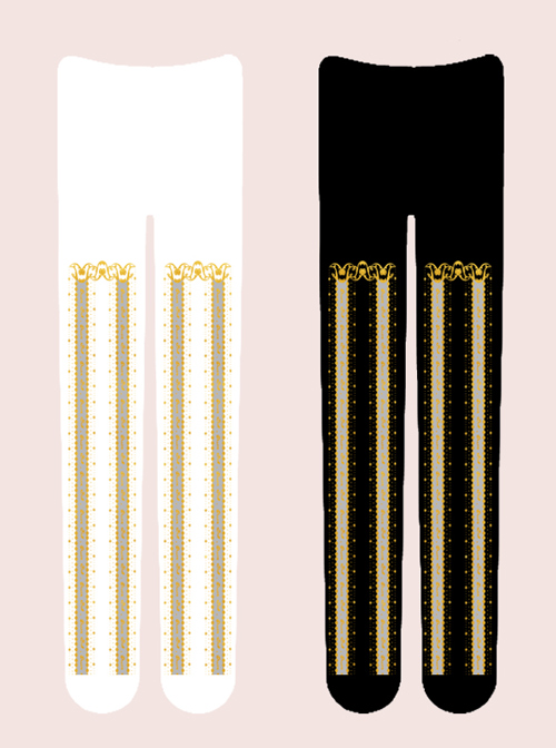 Alice Dance Music Series Bronzing Printing Classic Lolita Stripe Pantyhose