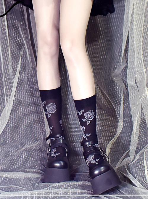 Vintage Rose Jacquard Darkness Gothic Lolita Socks