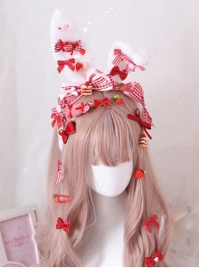 Strawberry Candy Bowknot Rabbit Ears KC Sweet Lolita Headband