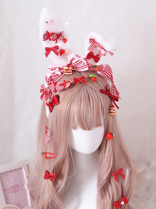 Strawberry Candy Bowknot Rabbit Ears KC Sweet Lolita Headband