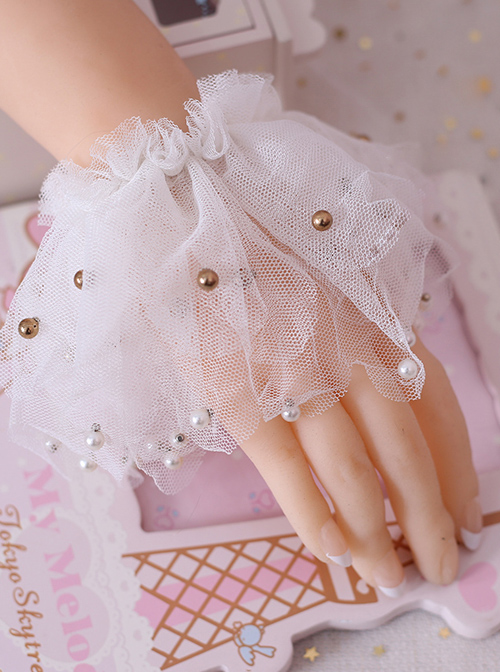 Simplicity Beading White Lace Classic Lolita Hand Sleeves
