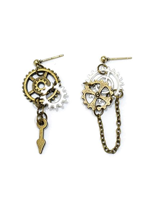 Mechanical Gear Asymmetry Design Metal Chain Punk Lolita Earrings
