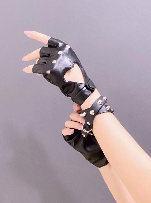 Heart Shape Hollow Out PU Leather Punk Lolita Half Finger Gloves