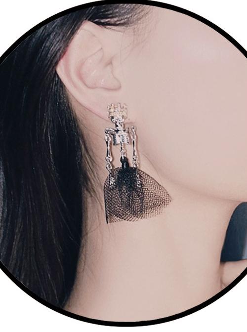 Zombie Bride Skull Ear Drop Gothic Lolita Earrings