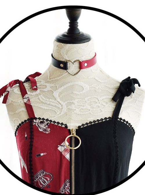 Heart-shaped Stitching Black And Red Darkness Sweet Lolita Necklace