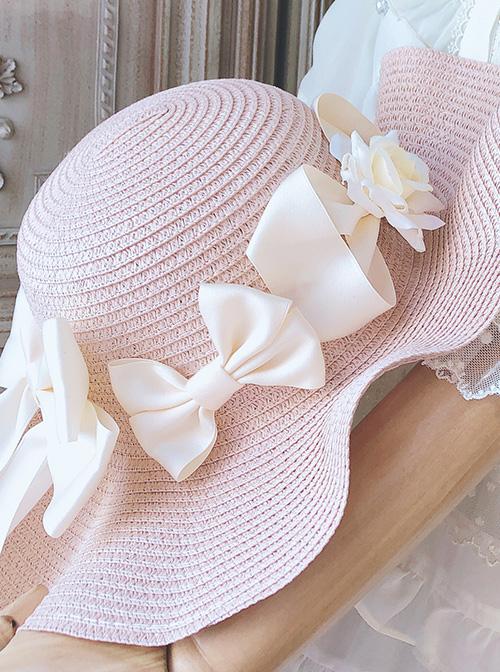 Romantic Elegant Long Ribbon Bowknot Straw Hat Classic Lolita Hat