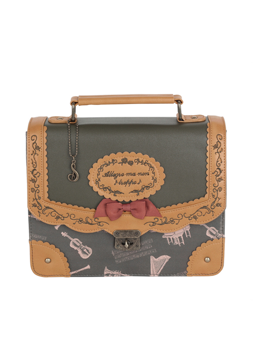 Musical Instruments Printing Elegant School Lolita Portable Single Shoulder Bag