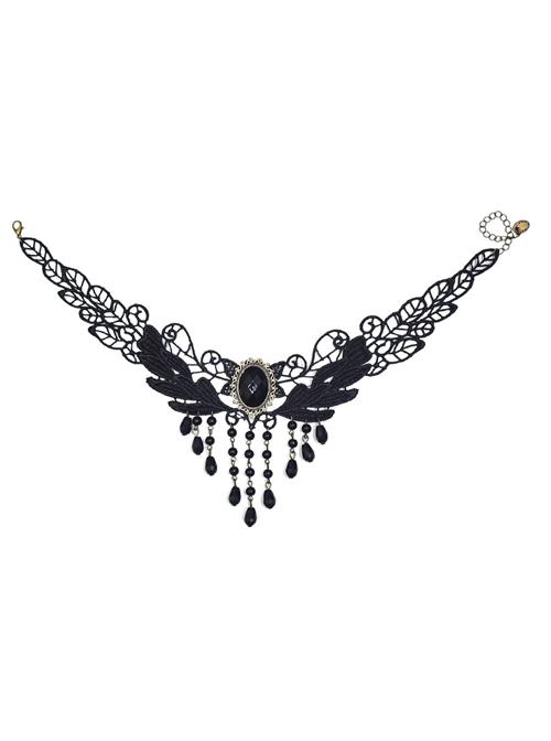 Tassel Pendant Black Lace Gothic Lolita Necklace