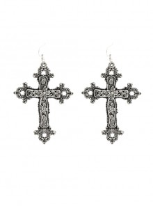 Dark Vintage Baroque Cross Gothic Lolita Exaggerated Personality Earrings