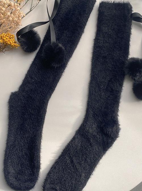 Plush Balls Imitation Mink Velvet Sweet Lolita Socks