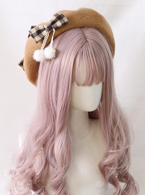 Plaid Bowknot Winter Multicolor Beret Sweet Lolita Hat