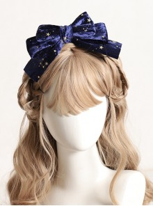 Gilding Starry Sky Flocking Big Bowknot Spring Clip Classic Lolita Hair Pin