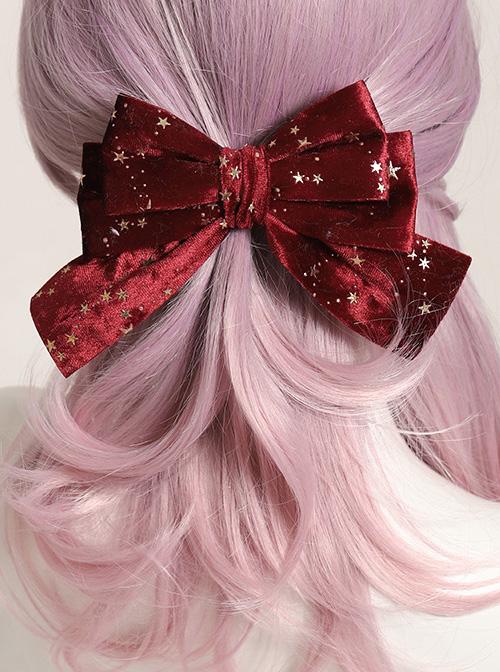 Gilding Starry Sky Flocking Big Bowknot Spring Clip Classic Lolita Hair Pin