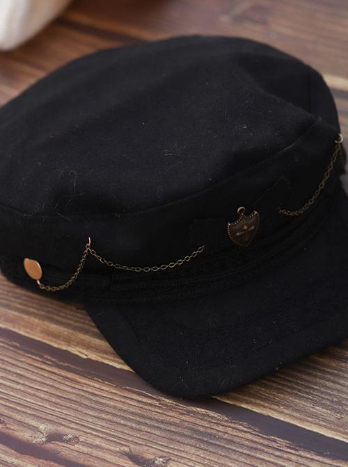 Retro Military Lolita Black Hat