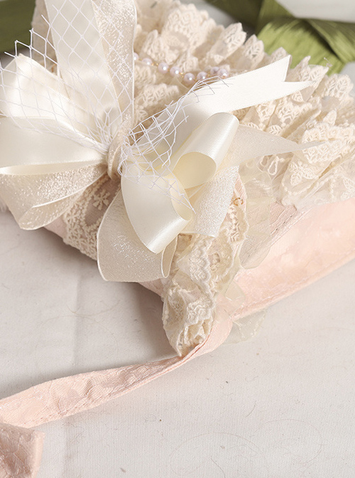 Elegant Lace Apricot Big Bowknot Classic Lolita Bag