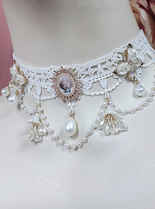 White Lace Water Drop Pearl Crystal Fairy Classic Lolita Necklace