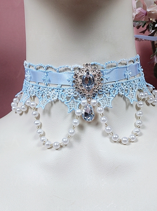 Fairy Blue Water Drop Crystal Classic Lolita Star Lace Necklace